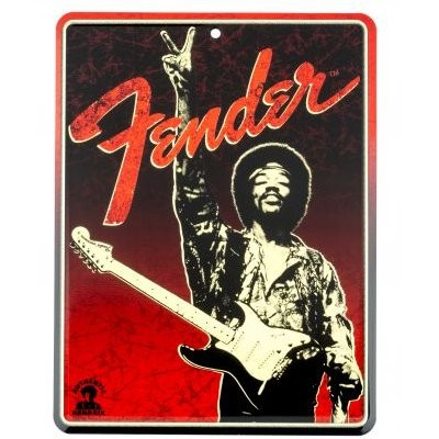 FENDER TIN SIGN HENDRIX PEACE BLACK/RED - BORD METAAL VINTAGE AGED METAL SIGN
