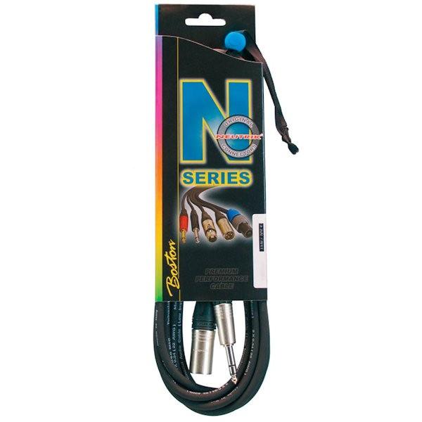 Boston MJX-522-10 N-Series microfoon / patchkabel met Neutrik connectoren xlr male naar stereo jack en een lengte van 10 meter.