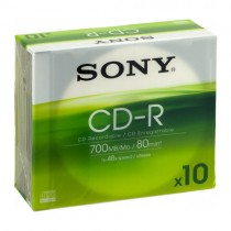 SONY 10CDQ80NSLD 10-PACK - CDR 700MB 80MIN SLIMCASE