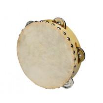 """Hayman CSN-0705 7"""" houten tamboerijn met 5 schellen en een natuurvel."""