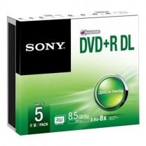 SONY 5DPR85SS 5-PACK DOUBLE LAYER - DVD+R DL 8.5GB 240MIN SLIMCASE