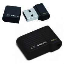 KINGSTON DATATRAVELER MICRO 16GB BLACK - USB FLASH MEMORY 16GB / 2.0 ZWART