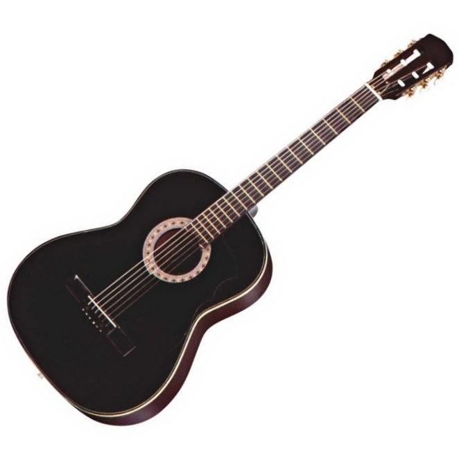 Gomez 001/BK Spaans / klassieke gitaar met nylon snaren in de kleur Zwart