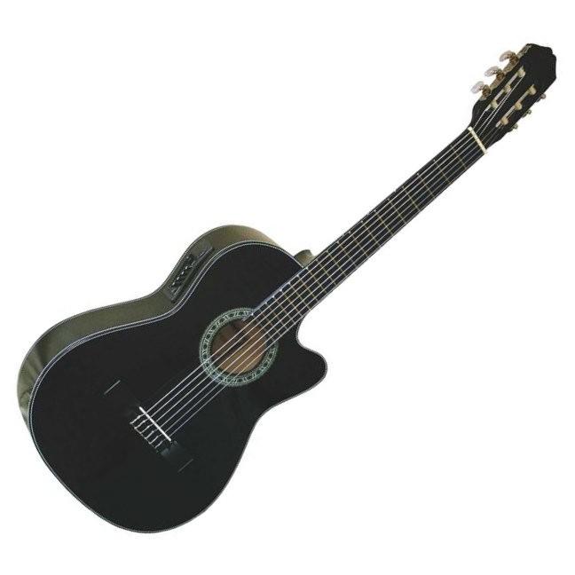 Gomez 001/BKCE Spaans / klassieke gitaar met nylon snaren in de kleur Zwart. Uitgevoerd met element en cutaway