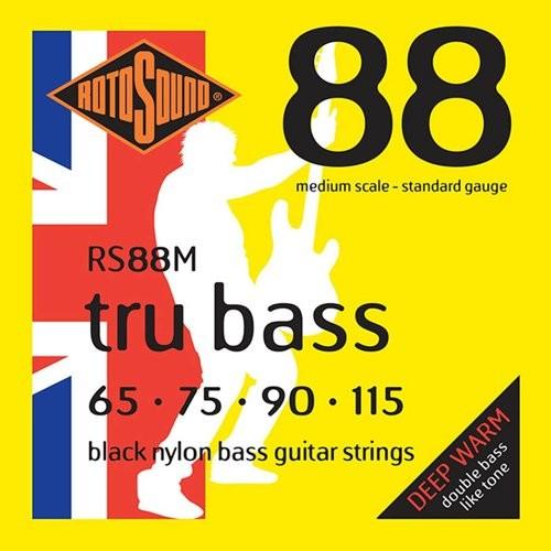 ROTOSOUND RS 88M BLACK NYLON FLATWOUND - SNAREN BAS 065-115 MEDIUM SCALE