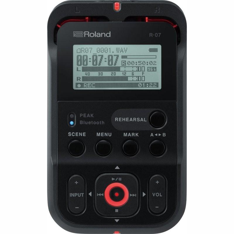 ROLAND R-07 BK HIGH-RESOLUTION AUDIO RECORDER - OPNAMEAPPARAAT + BLUETOOTH + AFSTANDSBEDIENING ZWART