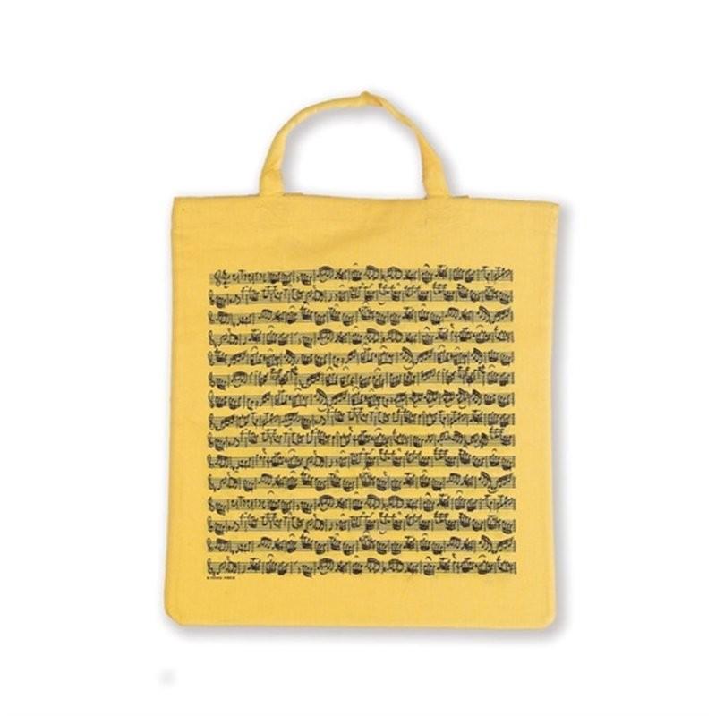 GESCHENK TOTE BAG SHEET MUSIC YELLOW - DRAAGTAS GEEL KATOEN NOTENBALK PRINT
