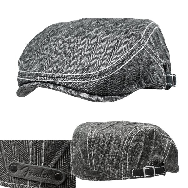 FENDER WINTER DRIVER'S CAP BLACK/GREY HERRINGBONE - PET GRIJS VISGRAAT 1 SIZE FITS MOST