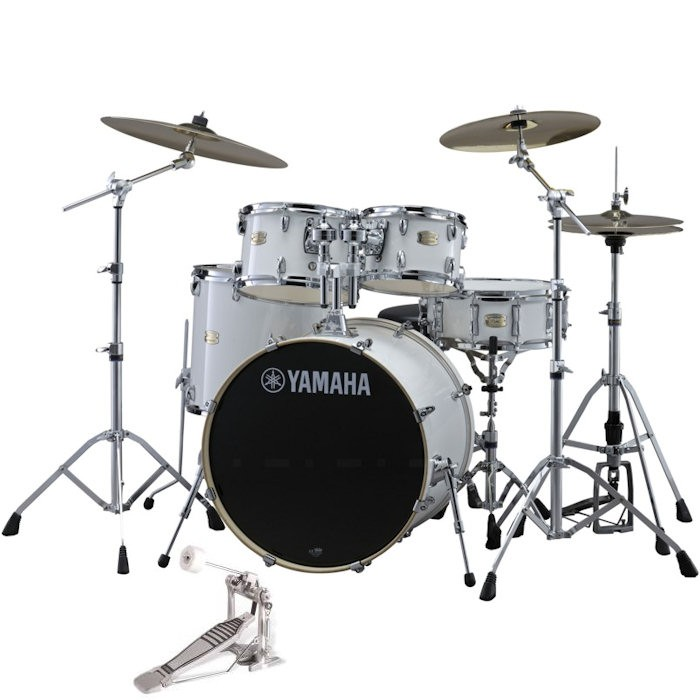 """YAMAHA STAGE CUSTOM BIRCH PURE WHITE JSBP0F5PWH6W - DRUMSTEL FUSION 5-DELIG 20"""" BD + hardware"""