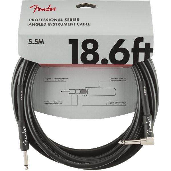 FENDER PROFESSIONAL SERIES 0990820019 - KABEL JACK 6.3 1X HAAKS 5.5M ZWART