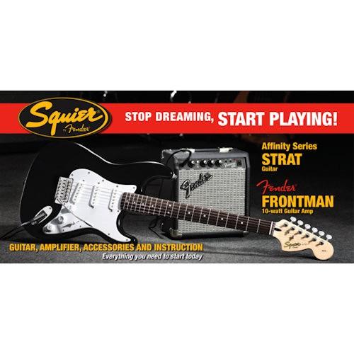 SQUIER STRATOCASTER AFFINITY ZWART 030-1612-606 - GITAAR START SET + FRONTMAN 10G AMP