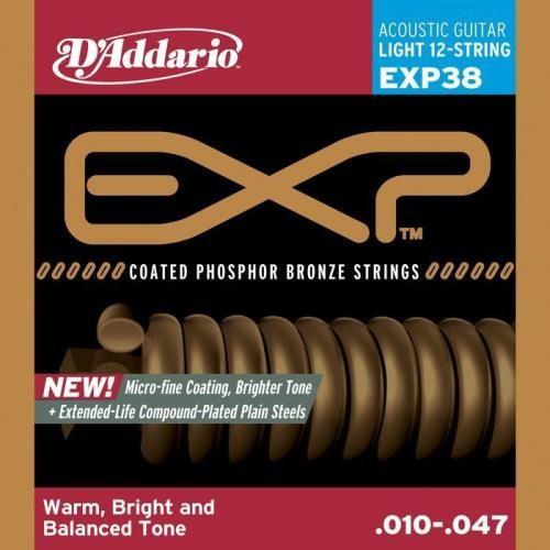D'ADDARIO EXP38 12 STRING COATED - SNAREN 010-047 PHOSPHOR BRONZE