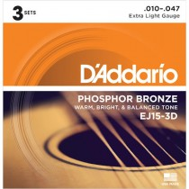 D'ADDARIO EJ15-3D - SNAREN 010-047 PHOSPHOR BRONZE 3PCK
