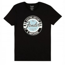 FENDER TEE 9193010517 MEDIUM - T-SHIRT ZWART DAPHNE BLUE LOGO M