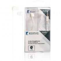KONIG CSHSIER200WH WHITE HEADSET - HOOFDTELEFOON IN EAR + MICROFOON