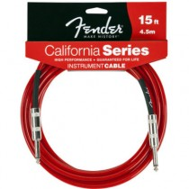 FENDER CALIFORNIA INSTRUMENT CABLE CANDY APPLE RED 099-0515-009 - KABEL JACK 6.3 - 4.5 MTR / 15FT CAR