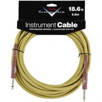 FENDER CUSTOM SHOP PERFORMANCE INSTRUMENT CABLE 099-0820-030 - KABEL JACK 6.3 TWEED 5.5 MTR 18.6FT