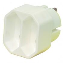 Met deze witte HQ EL-ADAPT020 adapter kunt u twee platte euro stekkers in één randaarde contact gebruiken.