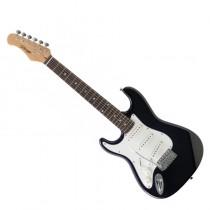 """Stagg S300 3/4 LH BK linkshandige elektrische """"S"""" gitaar - driekwart model in de kleur zwart."""