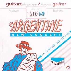 Argentine 1610-MF akoestische snarenset, silverplated steel core, 011-046, standard XL tension, ball end.